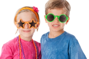 Real People: Caucasian Twins Little Boy and Girl Silly Sunglasse